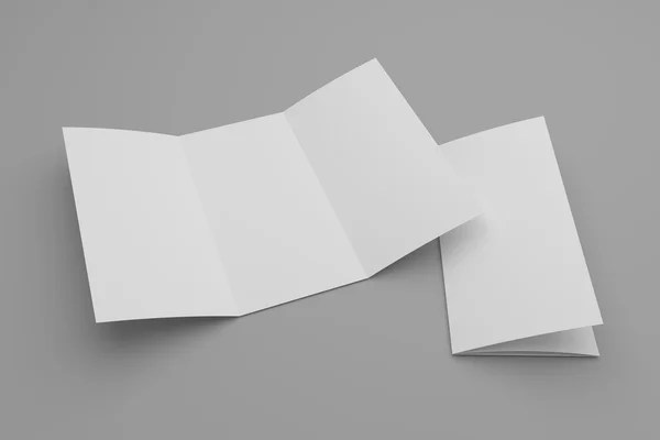 Double gate fold vertical brochure mock up isolated on soft gray - gate fold brochure mockup