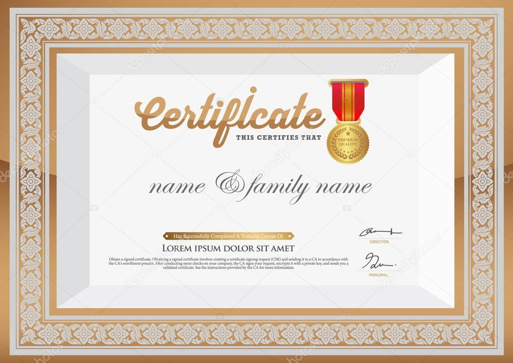Gold Certificate of Completion Template thai art element \u2014 Stock