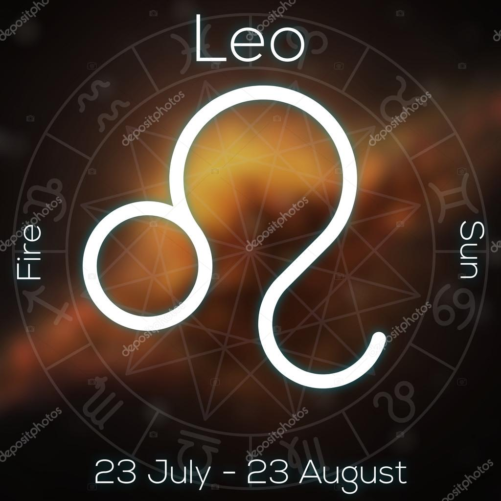 Horoscopo Mes De Abril Zodiac Sign Leo White Line Astrological Symbol With