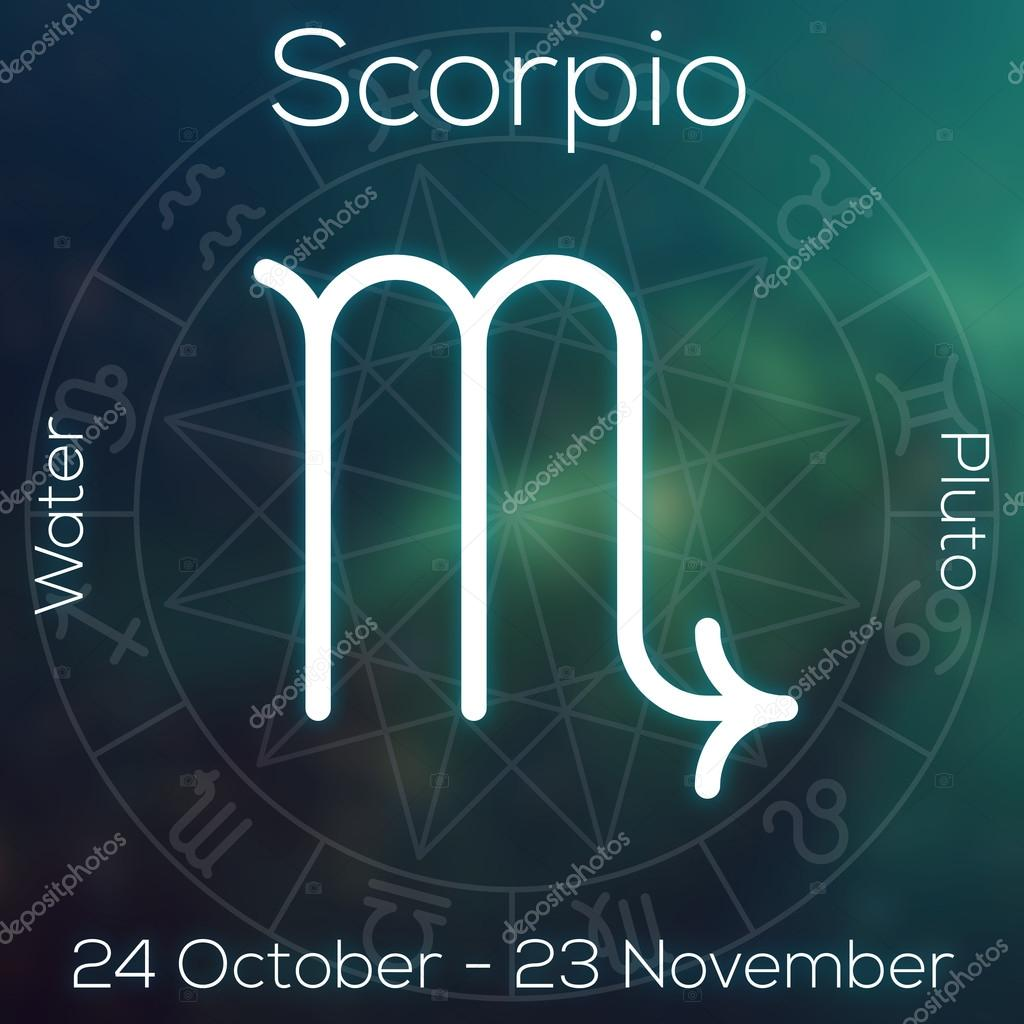 Horoscopo Mes De Abril Zodiac Sign Scorpio White Line Astrological Symbol With