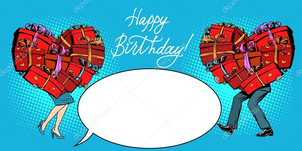 Presentes de mulher de homem de cartão-postal de feliz aniversário