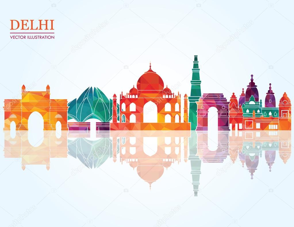 3d Wallpaper In Bangalore Delhi Skyline Vector Illustration Stock Vector