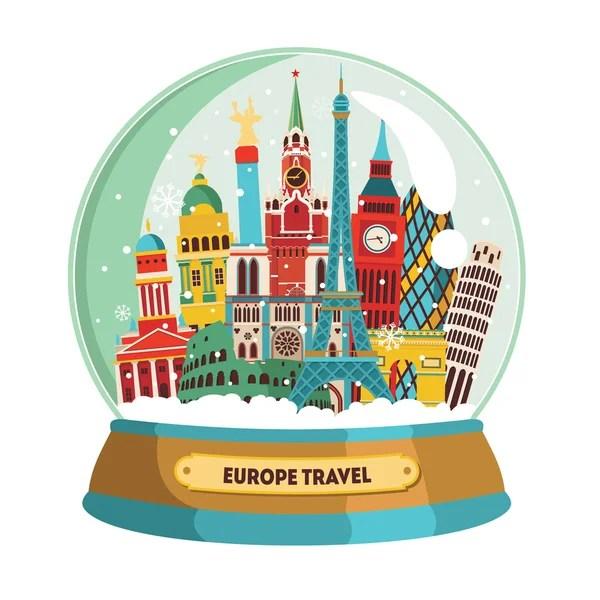 Cute Penguin Wallpaper Cartoon Europa Karte Mit Sehensw 252 Rdigkeiten Stockvektor