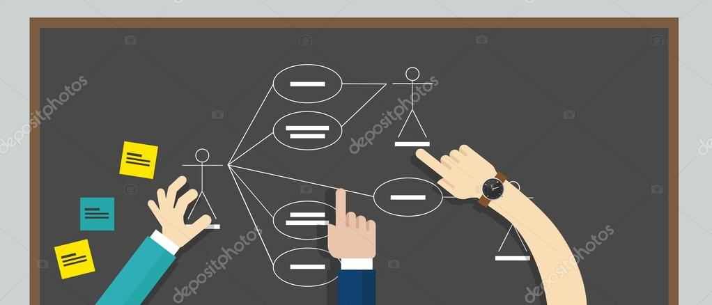 use case diagram uml unified modeling language \u2014 Stock Vector