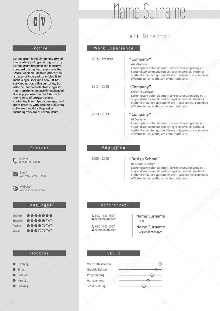 Vector creative resume template Minimalist style CV infographic