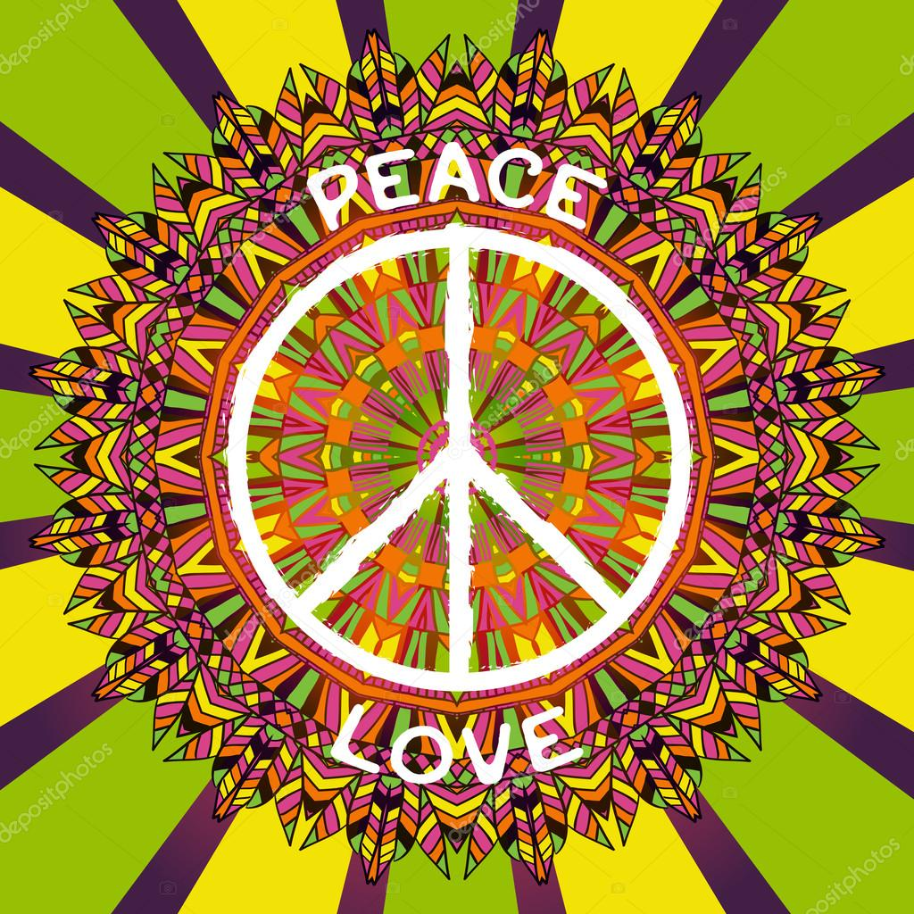 Hippie Peace Symbol Peace And Love Sign On Ornate Colorful Mandala Background Design Concept For Banner Card Scrap Booking T Shirt Bag Print Poster Retro Hand Drawn Vector Illustration Vector Image By