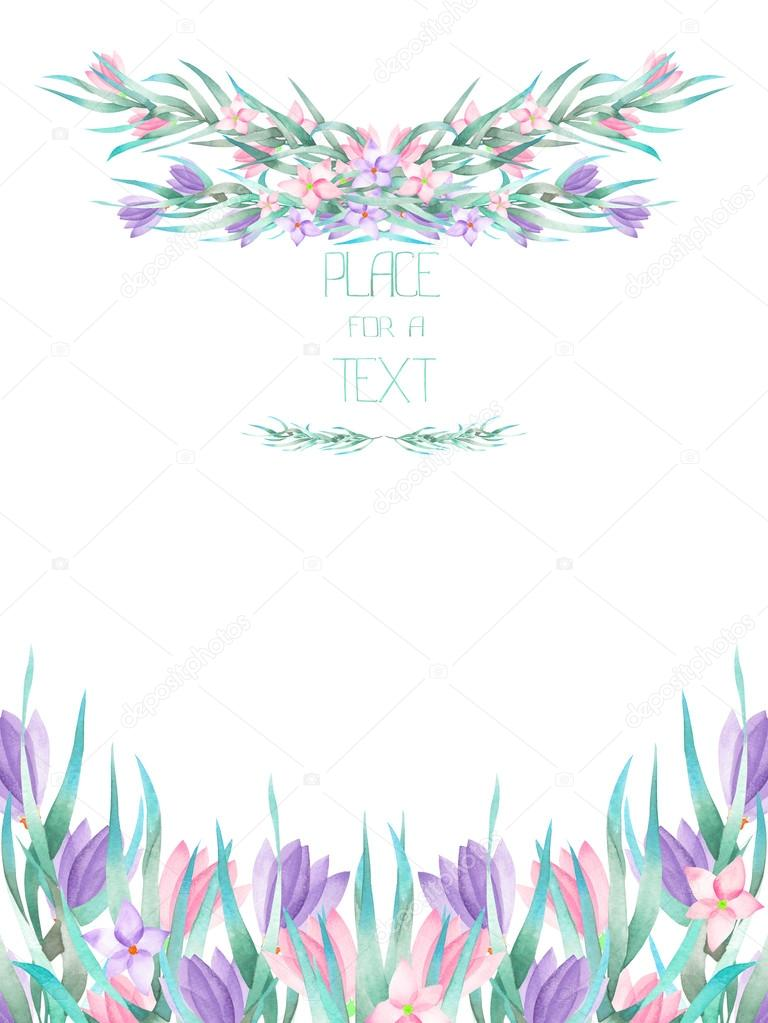 A frame border, template of a postcard with the watercolor crocus
