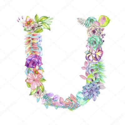 Letra maiúscula U de flores em aquarela, isolado mão desenhada sobre um fundo branco, desenho de ...