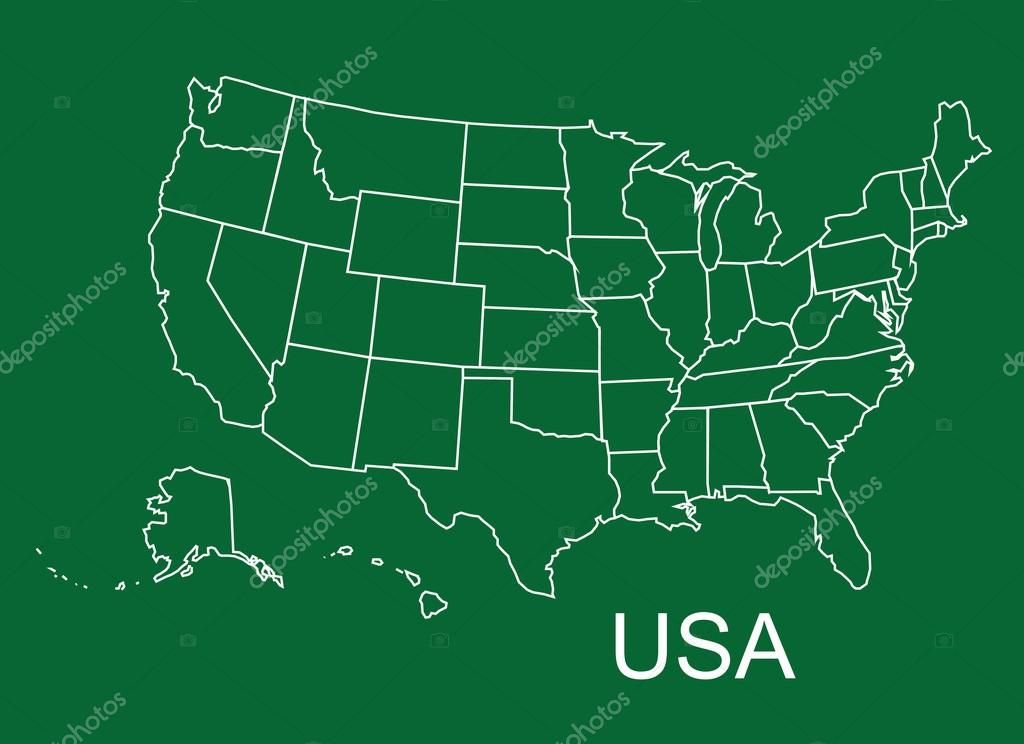 USA map in green background, usa map vector, map vector \u2014 Stock
