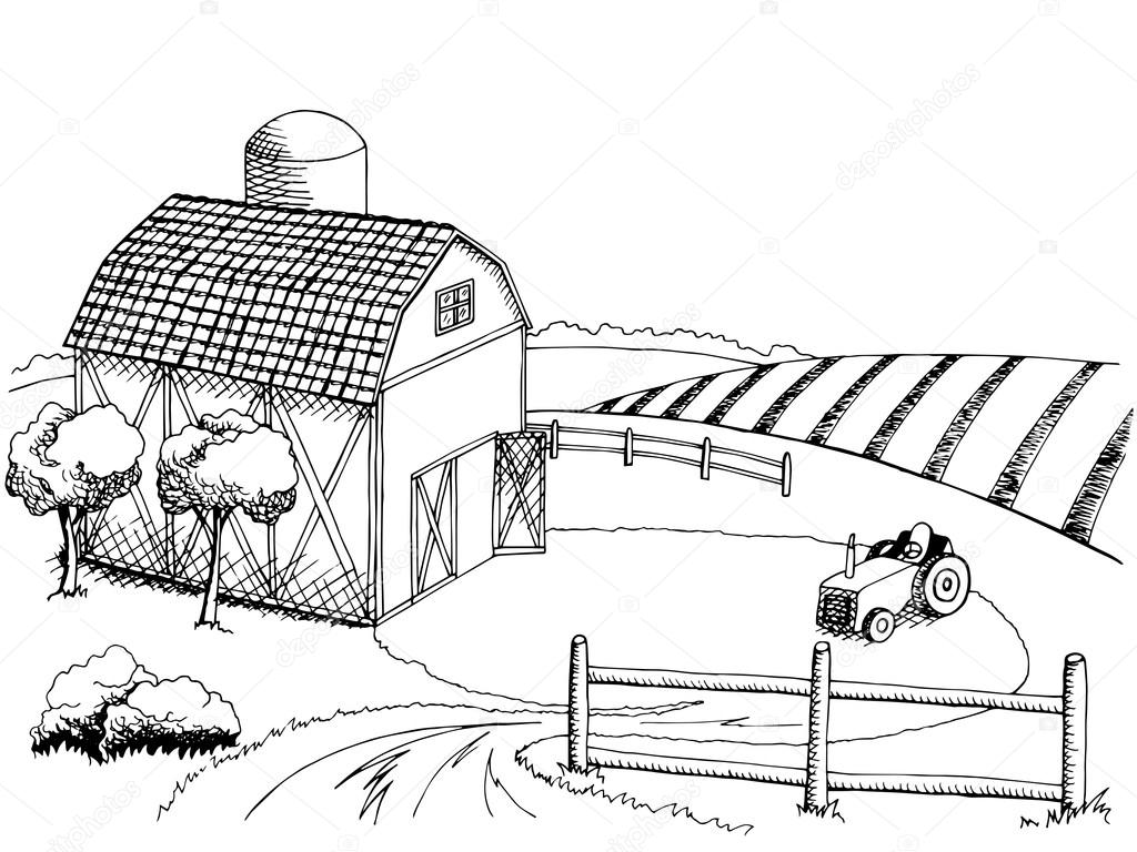 Barnyard Clipart Black And White Farm Field Graphic Art Black White Landscape Illustration