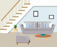 Furniture. The living room with stairs.  Stock Vector