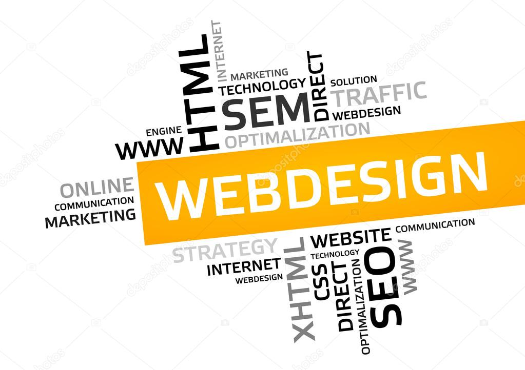 WEB DESIGN word cloud, tag cloud, vector graphic \u2014 Stock Vector