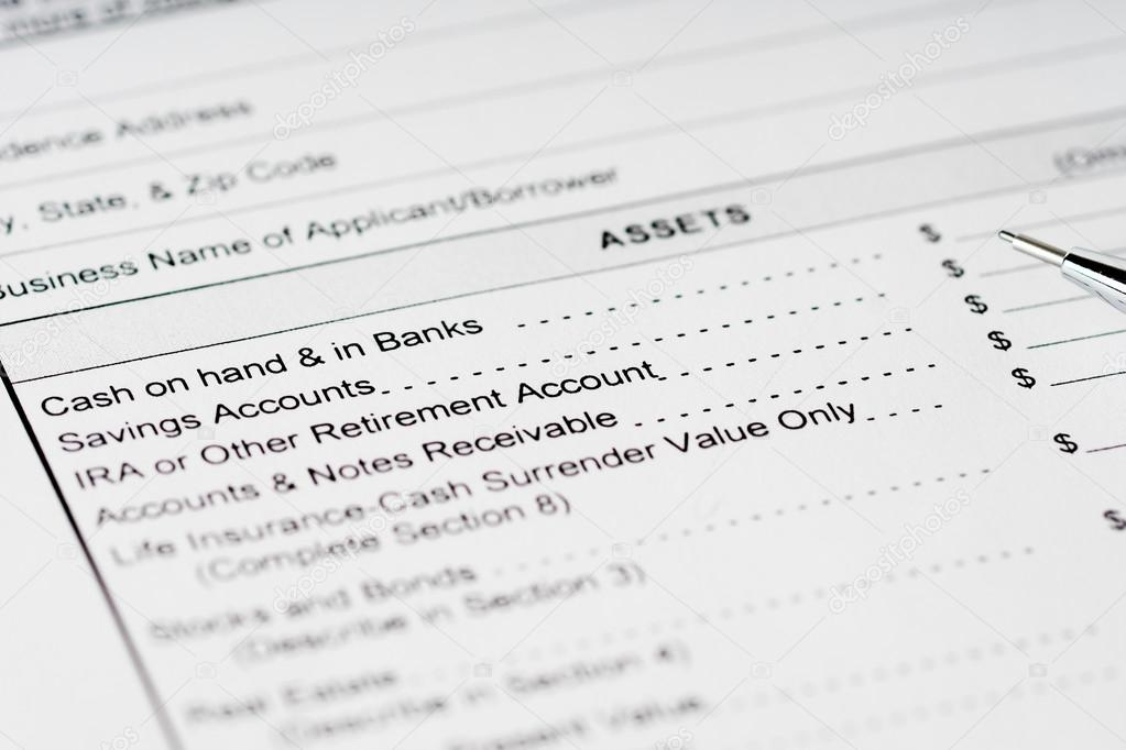 personal financial statement assets form \u2014 Stock Photo