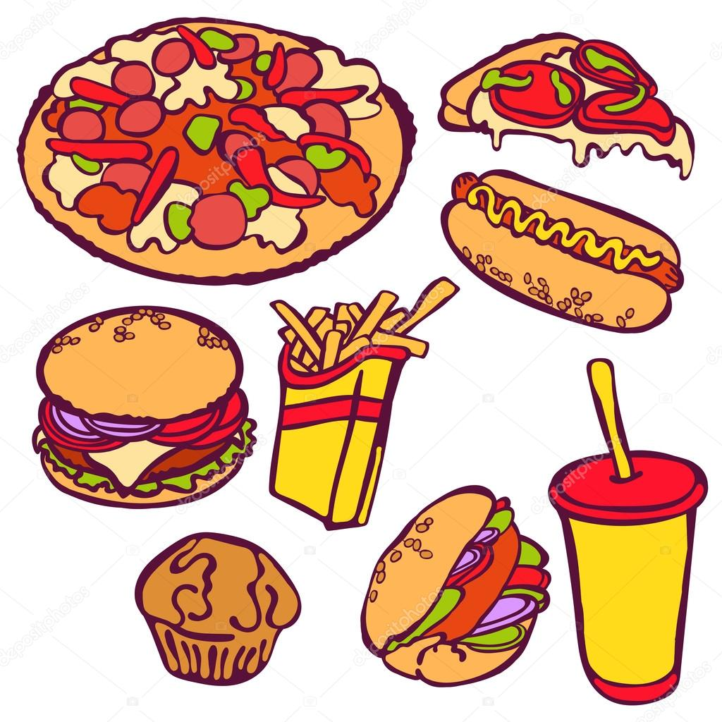 Liege Clipart Fast Food Vector Illustration Which Shows Hamburger