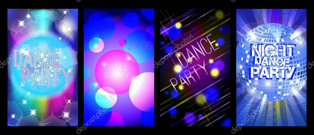 Dance party flyers set, musical backgrounds, vector \u2014 Stock Vector