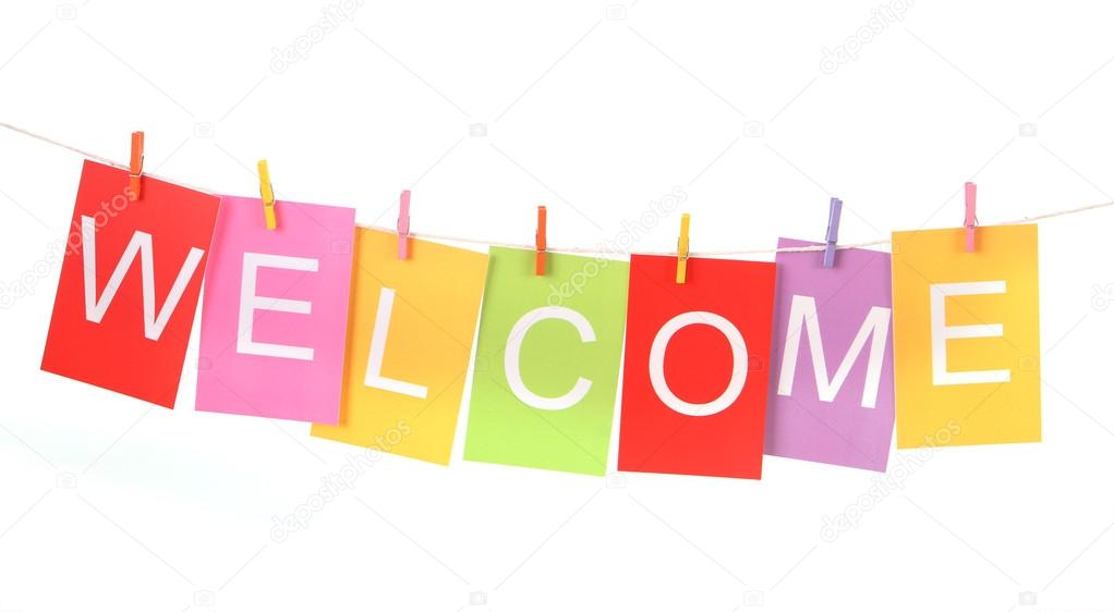 welcome word on colored paper sheets \u2014 Stock Photo © hidesy #76005751