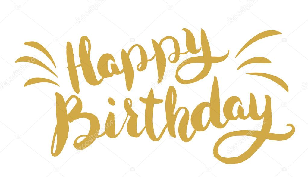 Feliz cumpleaños Letras dibujadas a mano Plantilla de tarjeta de