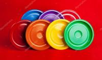 Colored Disposable Plates & Colored Plastic Plates On Red ...