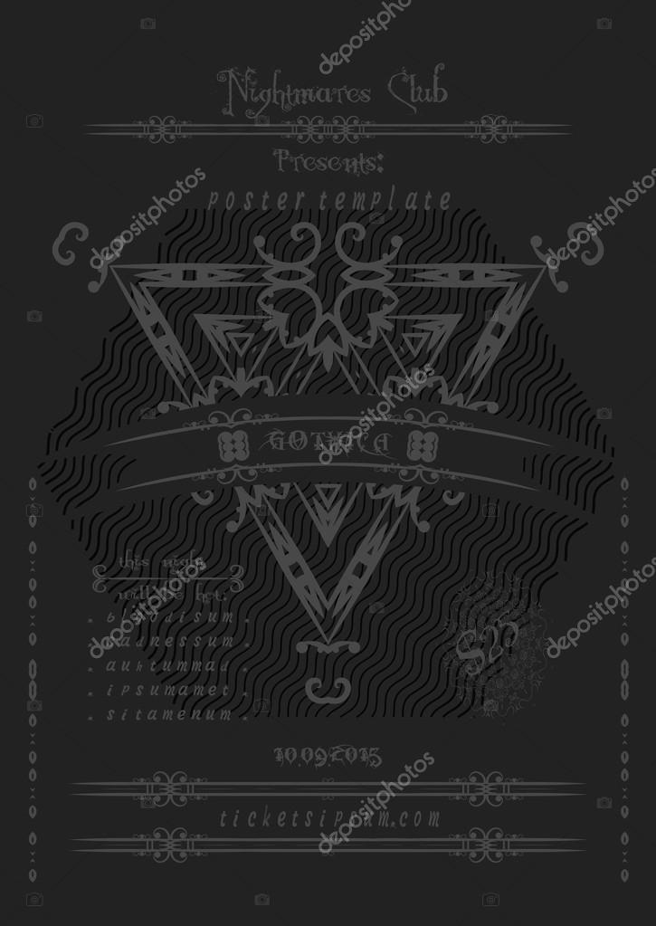 Rock or metal music concert poster template \u2014 Stock Vector