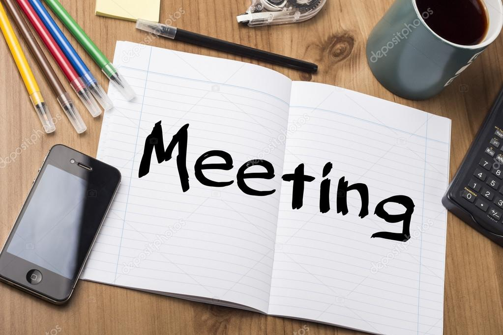 Meeting - Note Pad With Text On Wooden Table \u2014 Stock Photo