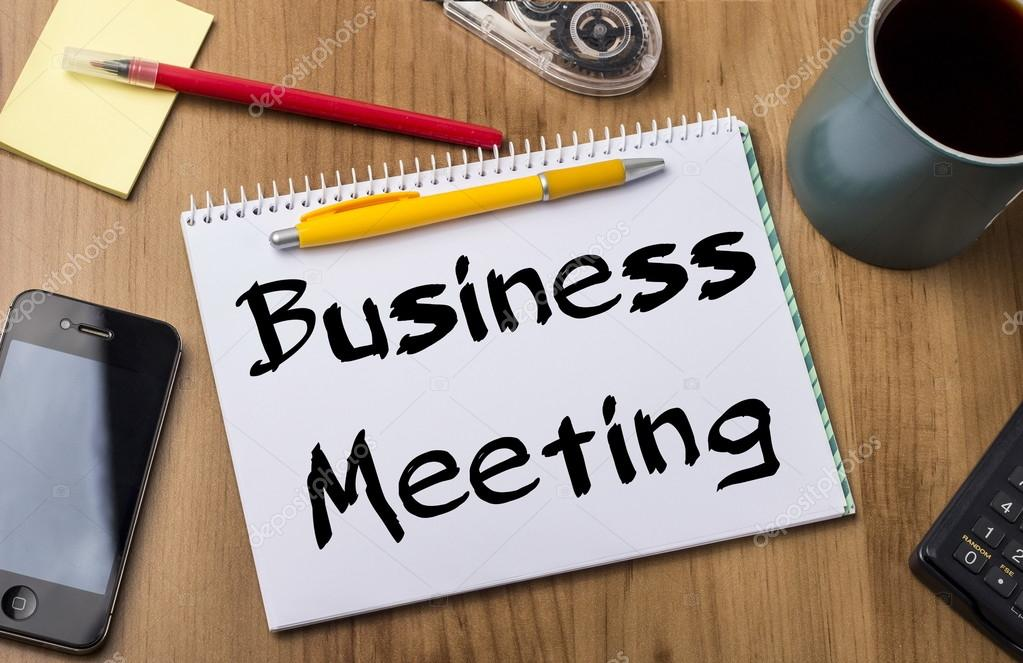 Business Meeting - Note Pad With Text On Wooden Table \u2014 Stock Photo - meeting note pad
