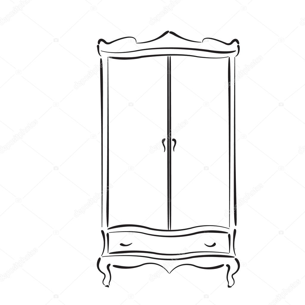 Sketched Vintage Wardrobe Isolated On White Stock Vector