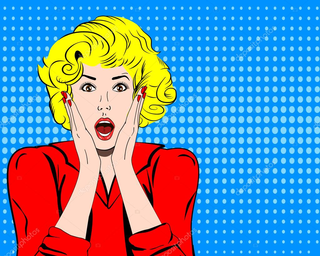 Vintage Pin Up Girl Wallpaper Vector Woman Shocked Face With Open Mouth In Pop Art