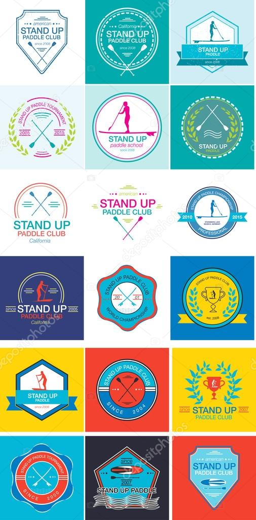 Plantilla de insignia colorida para stand infantil, deportivas - formatos para gafetes