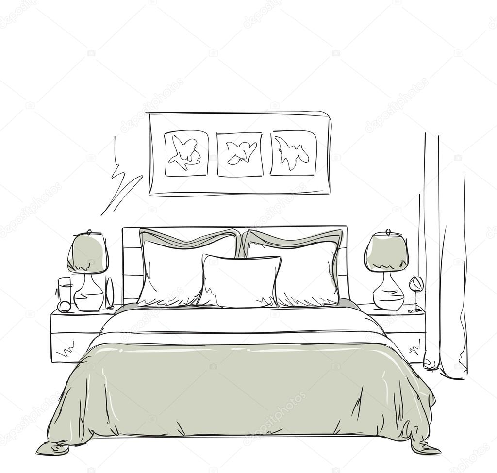 Camera Da Letto Disegno Bedroom Modern Interior Drawing Stock Vector Yuliia25