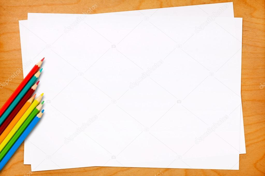 Blank Paper Sheets with Colored Pencils \u2014 Stock Photo © canbedone - colored writing paper