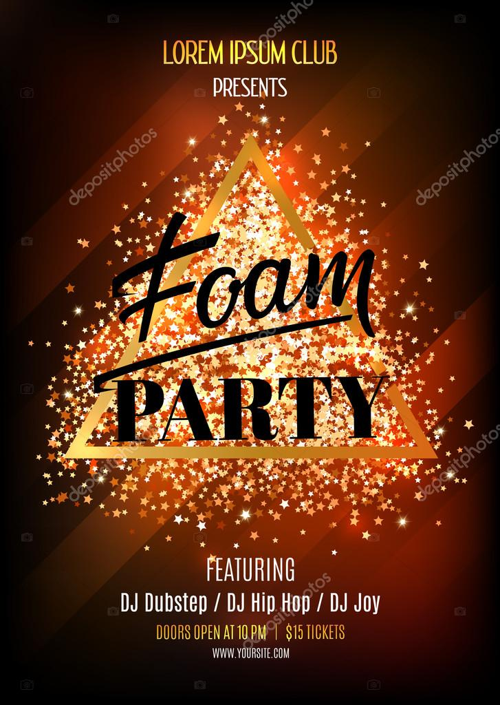 Foam party Night club flyer template Vector illustation with - club flyer background