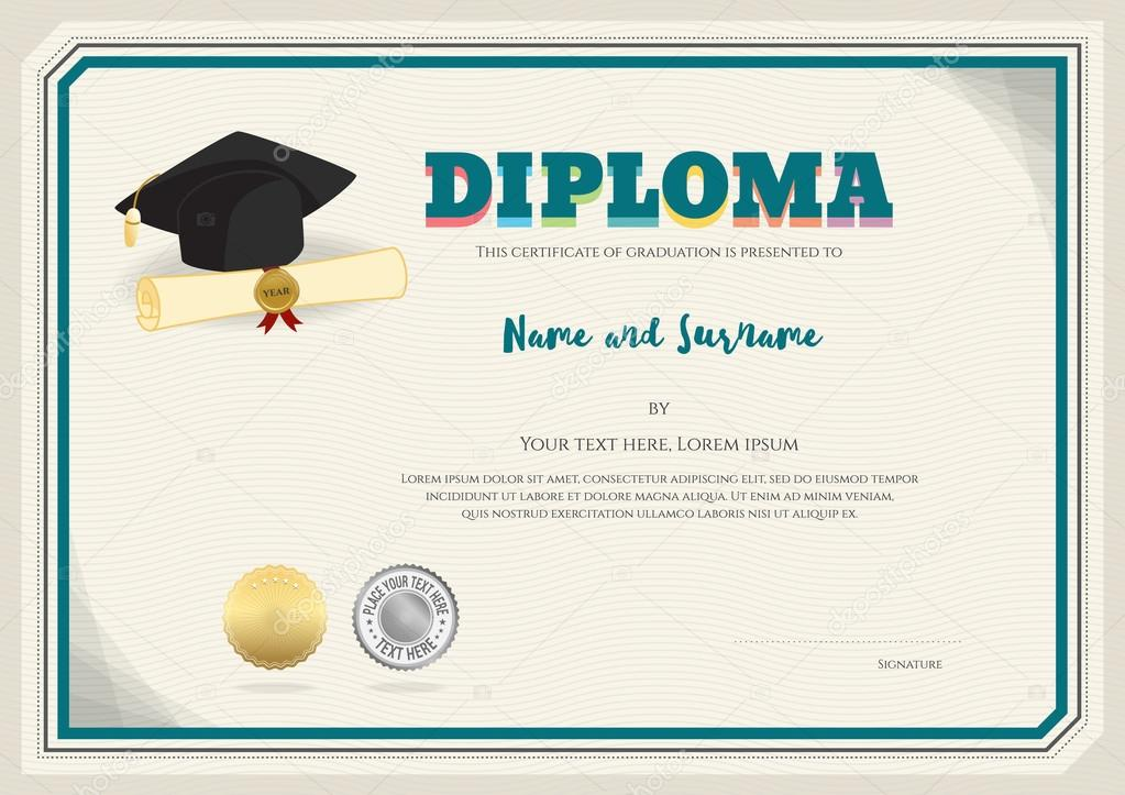 Diploma certificate template in vector with graduation cap