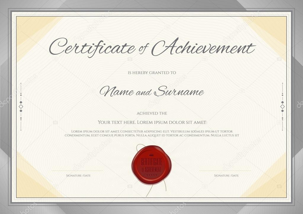 Certificate of Achievement template in modern theme with silver