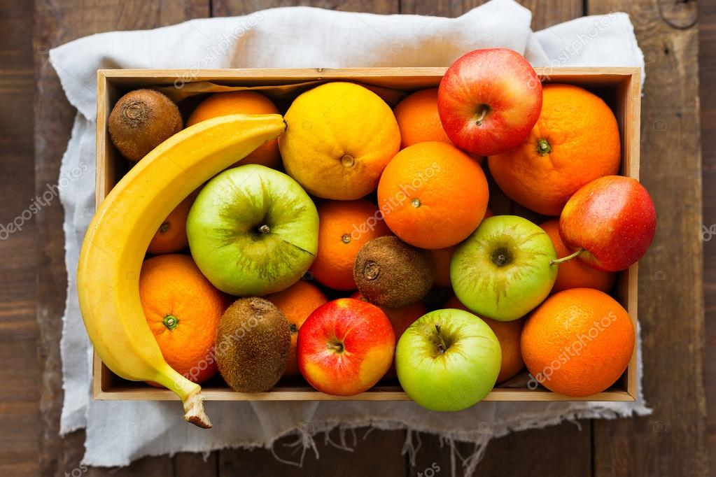 Box Full Of Fresh Fruits Fruit Harvest Apples Oranges