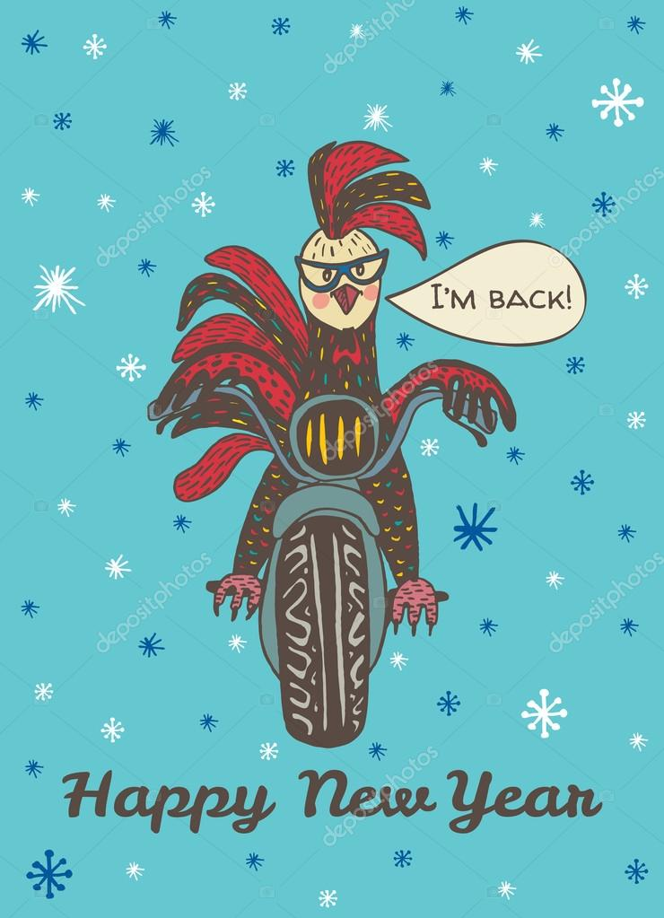 Happy New Year card with hand drawn Rooster on motorcycle \u2014 Stock