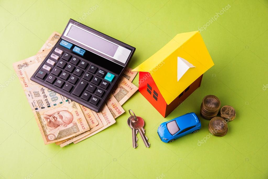 buying home and car concept, indian currency notes, model home, keys