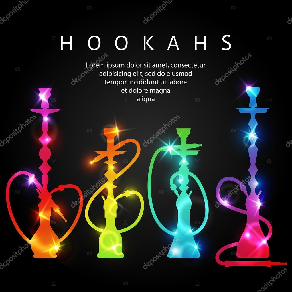 Cigarette Wallpaper Hd Vector Neon Shining Hookah Silhouettes Stock Vector