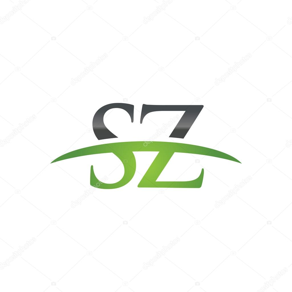 Sz Photo Initial Letter Sz Green Swoosh Logo Swoosh Logo Stock Vector