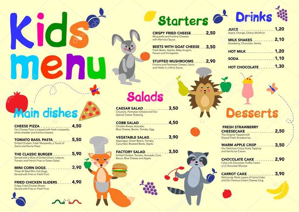cute colorful meal kids menu template with cute forest, Cute Ppt Templates, Powerpoint templates