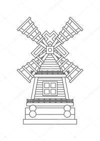 Icona di mulino a vento da colorare  Vettoriali Stock ...