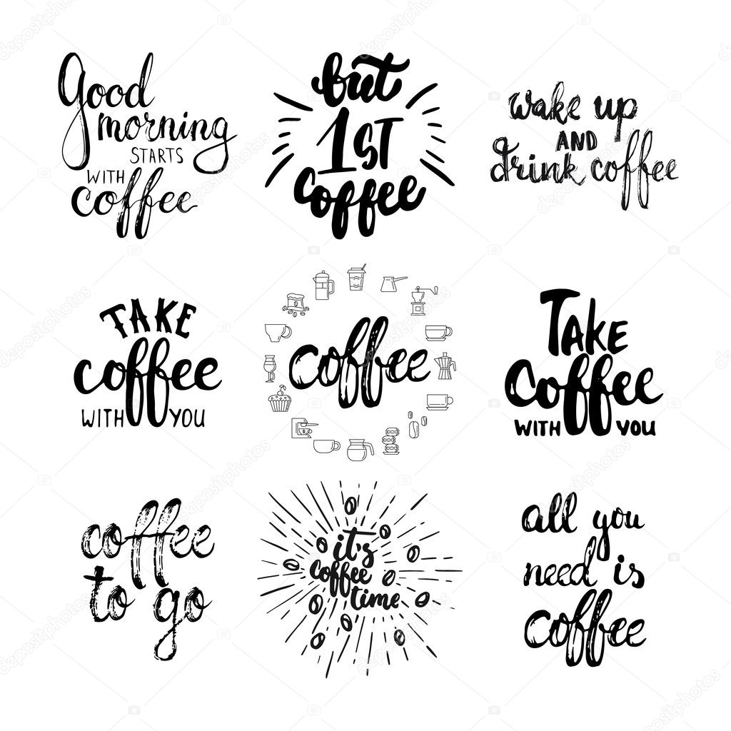 K Modern Calligraphy Hand Drawn Typography Lettering Coffee Phrases Set Modern