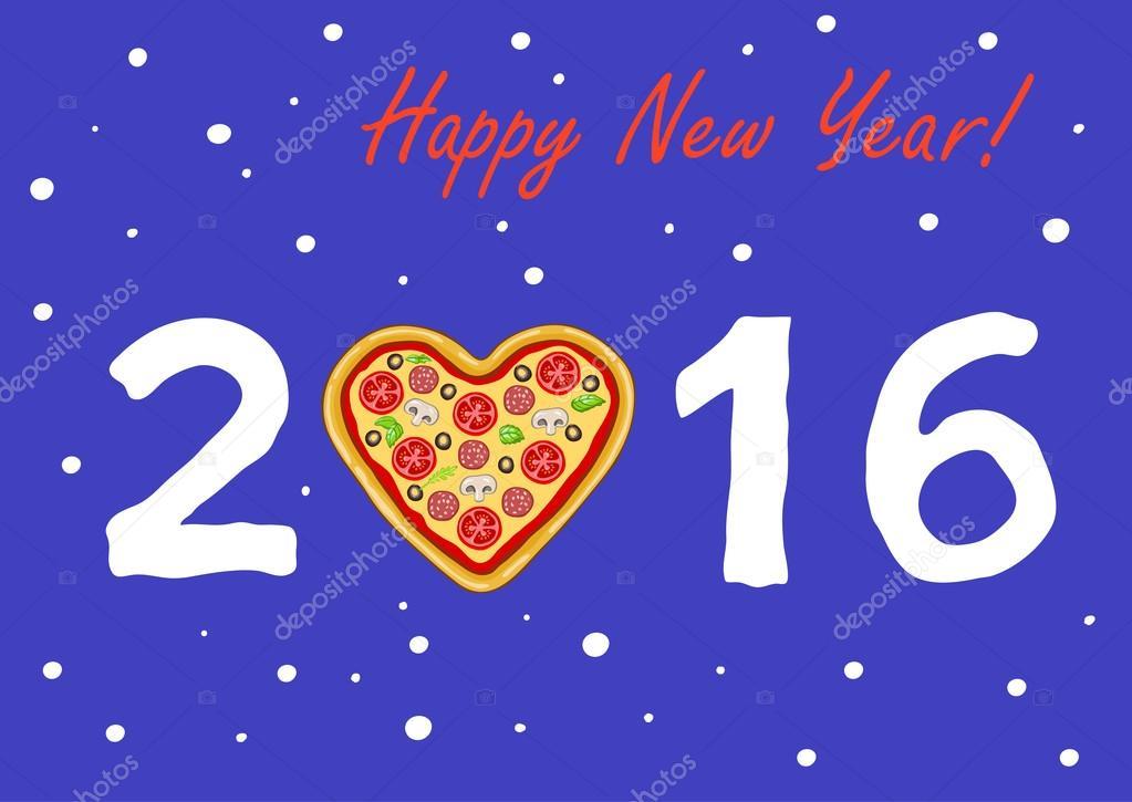 Cartão de ano novo ou Natal com pizza em forma de um coração contra
