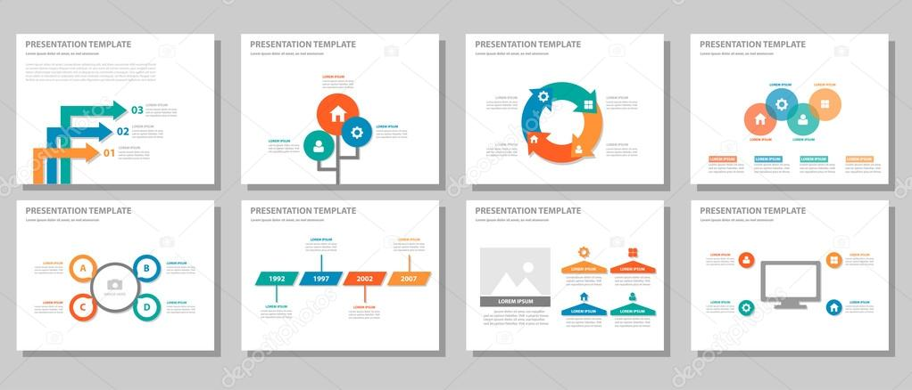 Blue green red orange presentation templates Infographic elements - marketing presentation