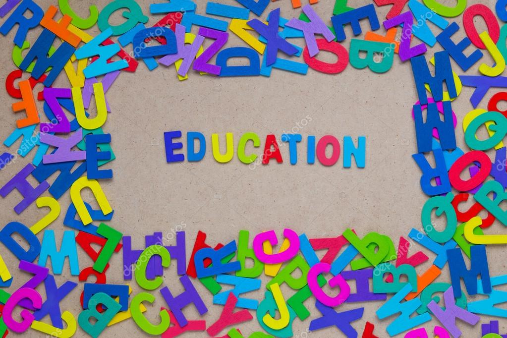 word education formed by colorful alphabets \u2014 Stock Photo - word alphabets