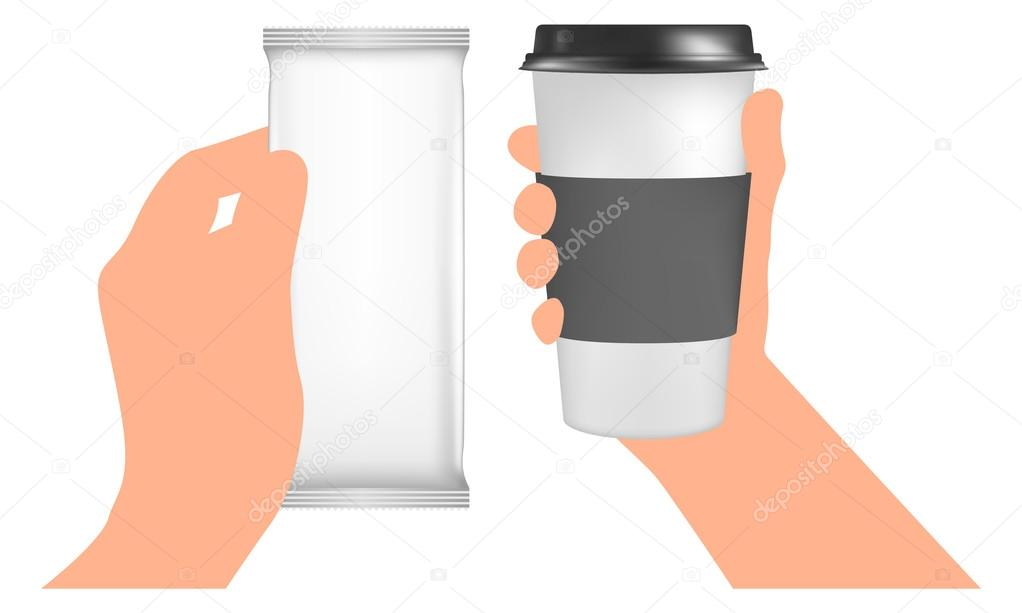 Plastic coffee cup templates in hand Paper Cup to go White Blank