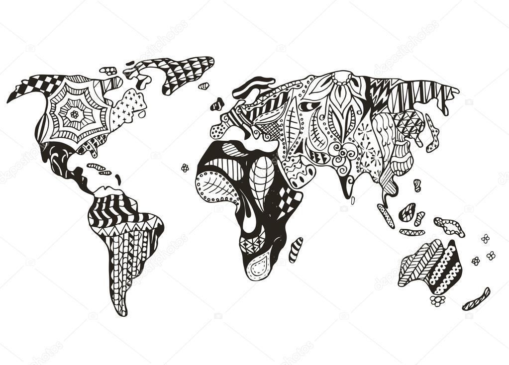 3d Melting Candle Live Wallpaper Welt Karte Zentangle Stilisiert Vektor Abbildung