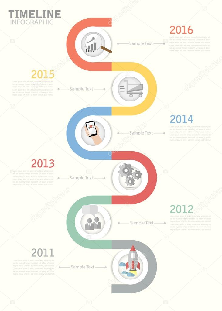 Timeline template for business design, reports, step presentation - sample business timeline