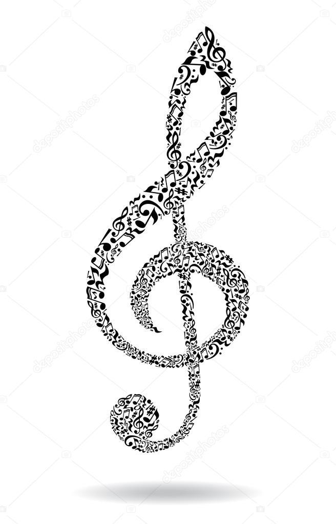Music notes treble clef \u2014 Stock Vector © inspiringvectorgmail - treble clef template