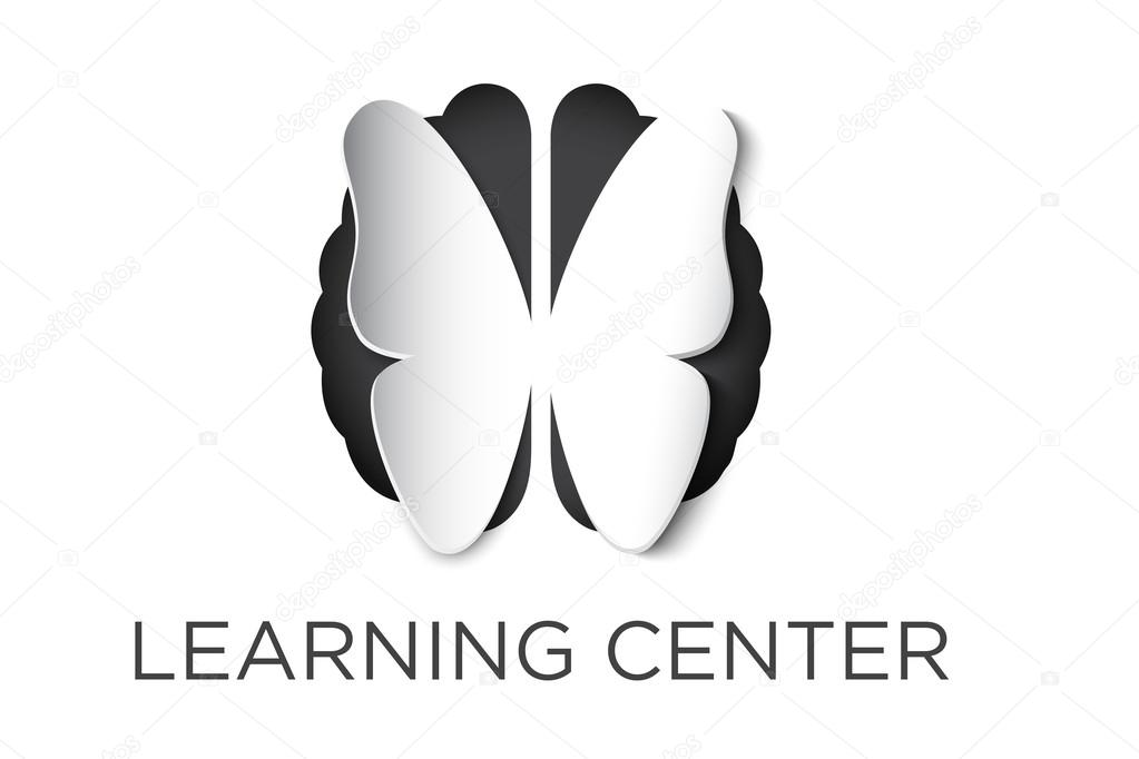 Butterfly and brain vector logo cutout and copy space text \u2014 Stock
