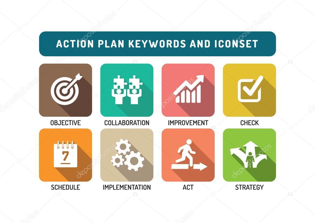 Action Plan Icons Set \u2014 Stock Vector © garagestock #106571352